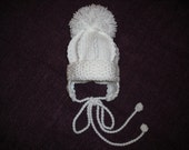 Knitted Baby Boy Hat in White 0-6 months