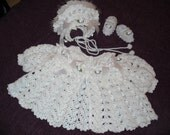 All White Baby Sweater, Hat and Bootees 0-6 months
