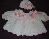White and Pink Baby Sweater and Beanie Hat Prem/Newborn