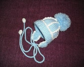 Baby BoyKnitted Hat with Pom Pom in Blue and White Prem/Newborn