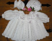 0-6M Baby Girl Sweater, Beanie and Booties Set All white MADE TO ORDER