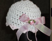 Prem/Newborn Baby Girl Beanie Hat White and Pink MADE TO ORDER