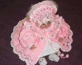 0-6M Pink and White Baby Sweater, Hat and Booties MADE TO ORDER