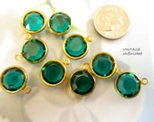 Vintage Swarovski Emerald  6mm Channels (6)