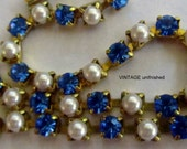 Vintage Swarovski Rhinestone Chain Sapphire Blue and Pearl 5mm (1) Foot