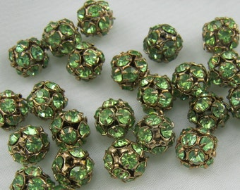Vintage Swarovski Peridot Green Rhinestone Beads 8mm (4)