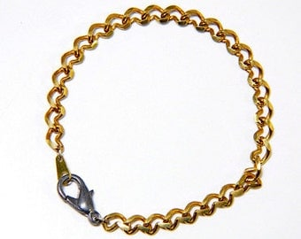 """Vintage Brass 7"""" Bracelet Link Chain with Lobster Claw (2)"""