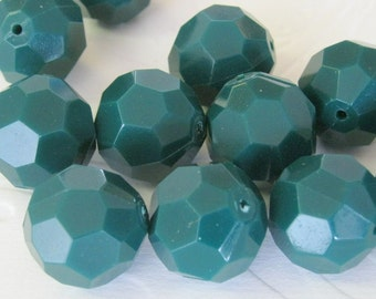 Vintage 18 mm Opaque Hunter Green Faceted Lucite Beads (12)