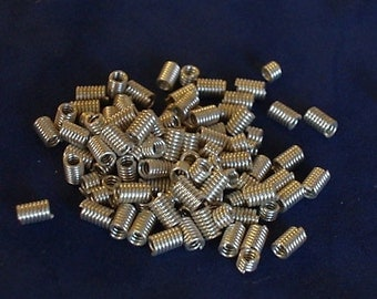 Vintage Silver Plated End Cap Cord Coils 3mm (40)