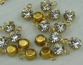 Vintage Swarovski Crystal 4mm Drops in Brass Settings (20)
