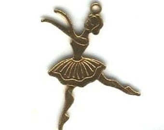 Vintage Brass Ballerina 26x17mm Findings (12)