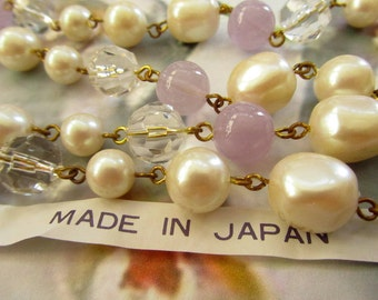 Lilac Purple Ivory and Clear Crystal Bead Chain (1) Foot