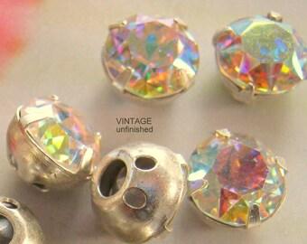Vintage Swarovski 9mm Round  Sew Ons Crystal AB (3)