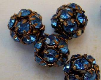 Vintage Swarovski 8mm Light Sapphire Rhinestone Beads (2)