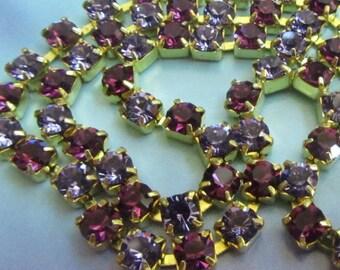 Swarovski Amethyst and Tanzanite Purple 3mm Rhinestone Chain (1) Foot