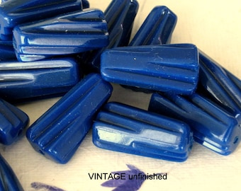 Vintage Montana Blue Twisted Licorice Bead 22 x10mm (10)