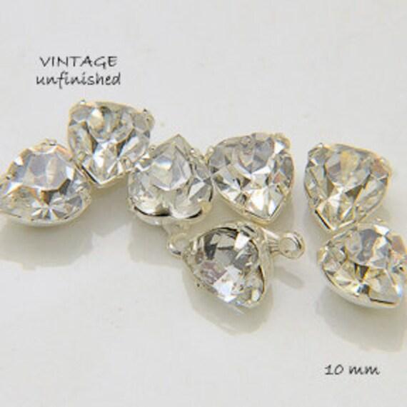 Vintage Swarovski Crystal  8MM Heart Pendants (4)