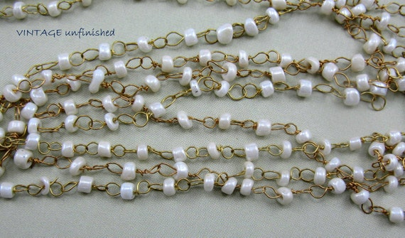 Vintage Beaded Ivory 3mm Bead Chain (2) Feet