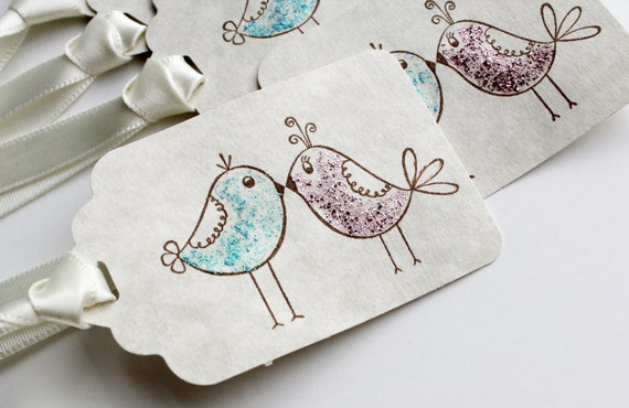 Love is Tweet - 12 Kissing Birds Ivory Tags- Touch of Aqua and Pink Sparkle - Wedding Engagement Bridal Shower Wishing Tree