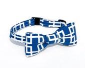 Boys Bowtie in Blue Geometric Maze