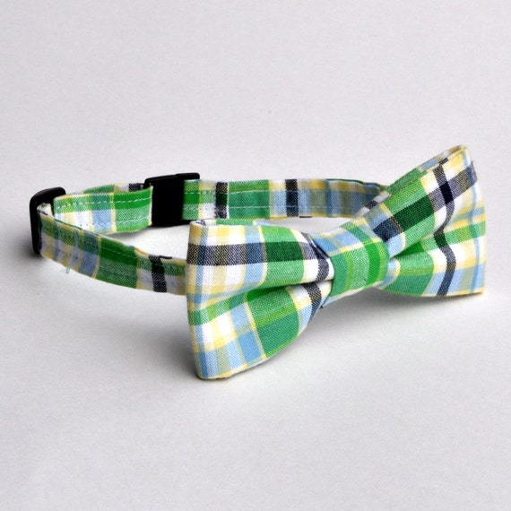 Boys Bowtie in Green and Navy Madras