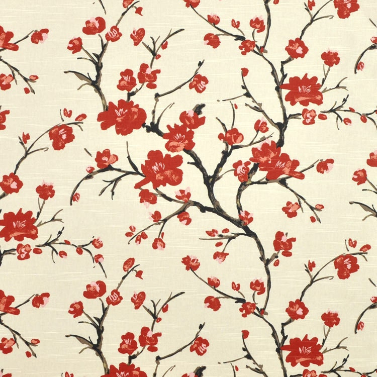 Yellow fabric shower curtain - Red Flowering Branch Cherry Blossom Fabric By Braemore Only