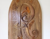 Book of Kells in Wood wall hanging - illuminated letter (R)