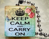 Keep Calm Carry On altered art glass charm scrabble style pendant  SALE  NOW 2.99