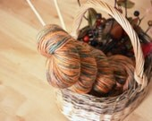 Hand Dyed Yarn / Pumpkin Burnt Orange Teal Green Autumn / Merino Wool / Worsted Weight