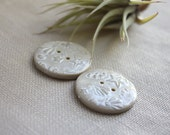 Buttons / Pearl Ivory Seashell Handmade / Small One Pair - phydeauxdesigns