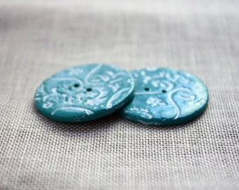 Buttons Button / Turquoise Cyan Lace Lacy White Filigree / Handcrafted Handmade Polymer Clay Notions