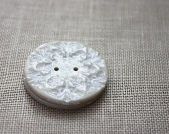 Snowflake Buttons / Pearl Ivory Handmade Snowflakes / Winter Snow Holiday Polymer Clay Button / Gifts for Knitters Crafters