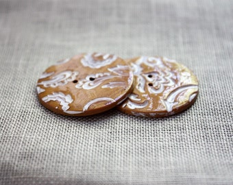 Buttons / Antique Rich Gold White Filigree / Handcrafted Handmade Polymer Clay Button