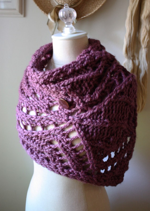 Knitting Pattern / Chunky Modern Lace Cowl Capelet Wrap ...