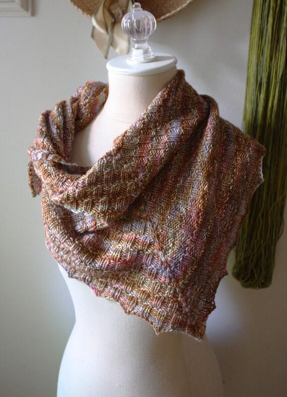 Checkered Knitting Pattern : Knitting Pattern / Cheques Checkered Rib Shawlette Kerchief