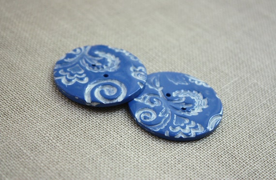 French Blue Buttons / Filigree / Medium / one pair (two)