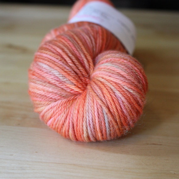 Hand Dyed Yarn / NEW / Coral Blush Pink Rose Peach Superwash Merino / Worsted Weight