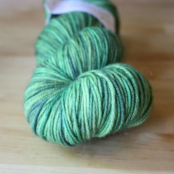 Hand Dyed Yarn / Sport Weight / Green Moss Forest / Superwash Merino Wool