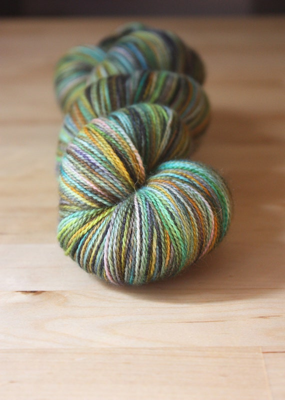 Hand Dyed Yarn / Green Gold Turquoise / Merino Wool Silk Lace Weight Luxury Yarn / NEW
