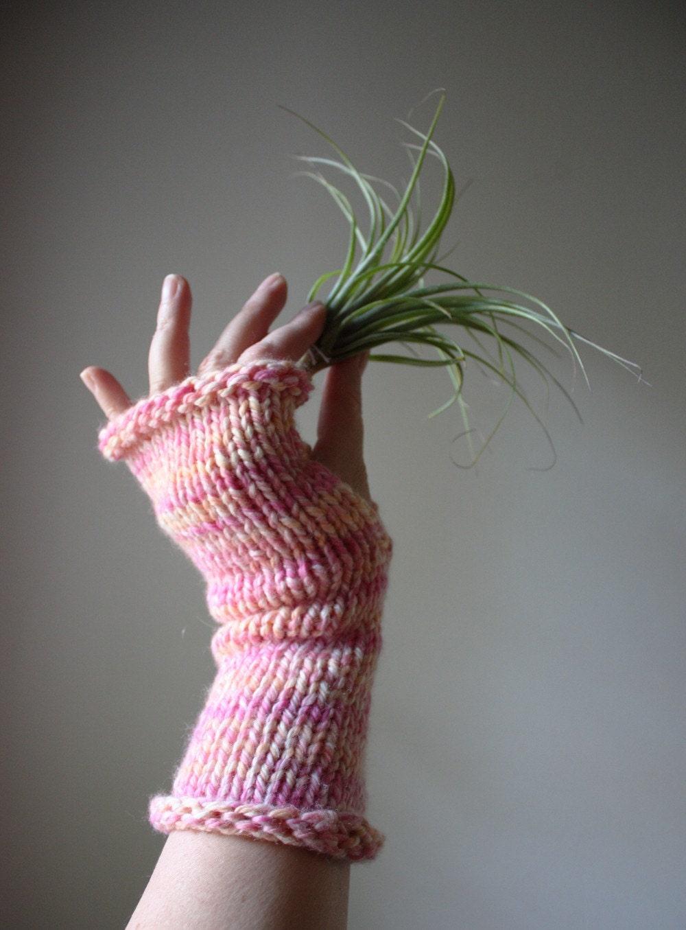 Fingerless Gloves Knitting Pattern Double Pointed Needles : Knitting Pattern / Fingerless Mittens Mitts / Long and