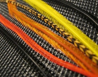 Sunset - 6 Long Feather Hair Extensions with crimp bead or clip - black, red, orange, yellow, yellow grizzly