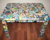 The Avengers Marvel Comic Upcycled Accent Table