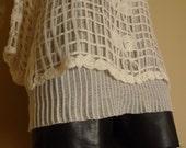 Avant-Garde Rosette Sweater in Cream Acrylic