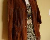 Mega Fringe Brown Suede Jacket with Floral Lining