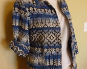 RESERVED FOR AUDREY Sale..Blue and White Ethnic Print Cropped Cotton Jacket