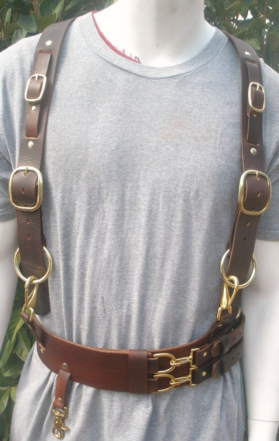 steunk leather belt and suspender harness by greatredspot