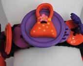 Fashion Girl Button Bracelet/Purple/Orange/Charm Bracelet/OOAK/Statement Bracelet/Under 30 USD/Expandable