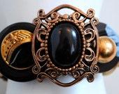 Dramatic Button Bracelet/Black/Gold/OOAK/Gift For Her/Charm Bracelet/Statement Bracelet/Winter Jewelry/Expandable/Under 50 USD