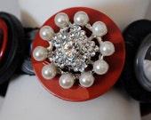 Red Button Bracelet/Charm Bracelet/OOAK/Gray/Statement Bracelet/Valentine's Day/Gift For Her/Expandable/Under 50 USD