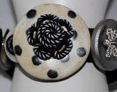 Polka Dot Button Bracelet/Charm Bracelet/Black/Creme/Pearl/Silver/Statement Bracelet/OOAK/Gift For Her/Expandable/Under 35 USD/